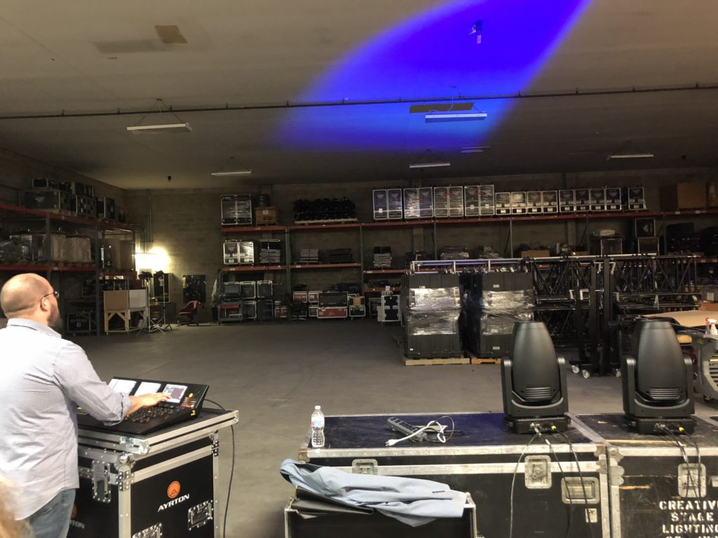James Suit demoing Ayrton Fixtures in the Creative Stage Lighting warehouse.