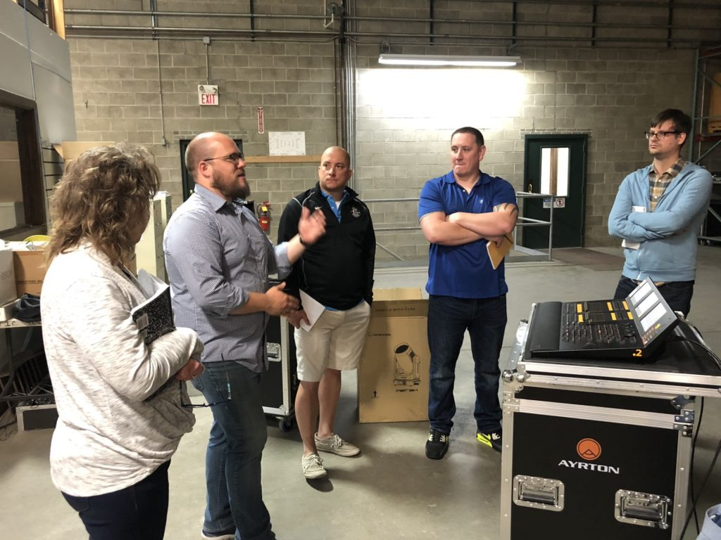 The Creative Stage Lighting sale team learning about Ayrton fixtures and MA Dot 2 from James Suite of ACT Lighting.